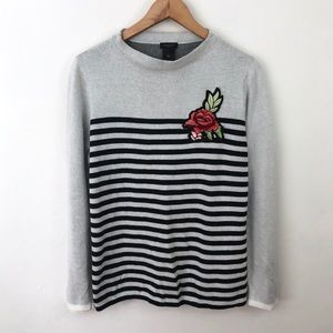 Ann Taylor Striped Mock Neck Rose Patch Sweater